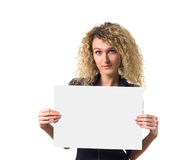 Business woman with blank poster Stock Photo