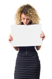 Business woman with blank poster Stock Image