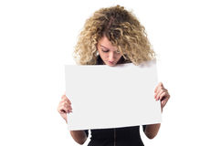 Business woman with blank poster Royalty Free Stock Images