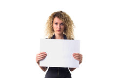Business woman with blank poster Royalty Free Stock Photo