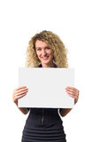 Business woman with blank poster Royalty Free Stock Photography
