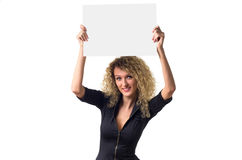 Business woman with blank poster Stock Photography