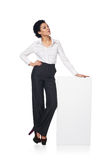 Business woman with blank white board Royalty Free Stock Images