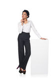 Business woman with blank white board Royalty Free Stock Photos