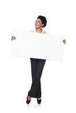 Business woman with blank white board Stock Photo