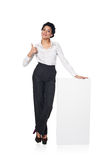 Business woman with blank white board Stock Images