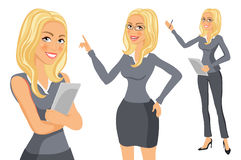 Business Woman blonde. Girl. young women in elegant office clothes art vector Royalty Free Stock Photos