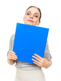 Business woman with a blue binder Stock Photography