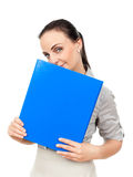 Business woman with a blue binder Royalty Free Stock Photos