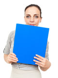 Business woman with a blue binder Royalty Free Stock Photography
