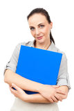Business woman with a blue binder Royalty Free Stock Image
