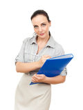 Business woman with a blue binder Stock Photos