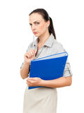 Business woman with a blue binder Royalty Free Stock Photo