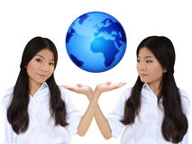 Business woman and the blue earth Stock Photography