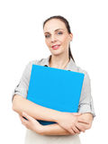 Business woman with a blue folder. An image of a business woman with a blue folder royalty free stock photos