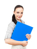 Business woman with a blue folder. An image of a business woman with a blue folder stock image