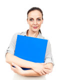 Business woman with a blue folder. An image of a business woman with a blue folder stock photos