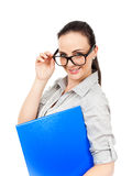 Business woman with a blue folder. An image of a business woman with a blue folder stock photo