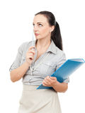 Business woman with a blue folder. A business woman with a blue folder and a pencil royalty free stock photos