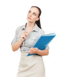 Business woman with a blue folder. A business woman with a blue folder and a pencil stock images
