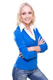 Business woman in a blue jacket Royalty Free Stock Photos