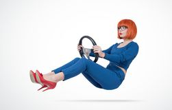 Business woman in blue suit and glasses driver car with a steering wheel. Business woman in blue suit and glasses driver car with a steering wheel stock photos