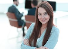 Business woman on blurred background office royalty free stock photography