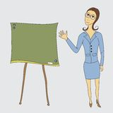 Business woman on the board shows Royalty Free Stock Photo