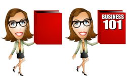 Business Woman Book. An illustration featuring a businesswoman holding a large red book - one blank for custom text and the other with Business 101 on the cover Royalty Free Illustration