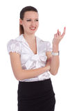Business woman boss beckoning. With her finger isolated over white Stock Photos