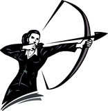 Business woman with a bow. Showing she's always on target Stock Image