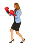 Business woman boxing Royalty Free Stock Image