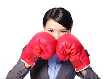Business woman with boxing gloves Royalty Free Stock Images