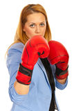 Business woman with boxing gloves Royalty Free Stock Photos