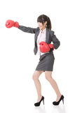 Business woman with boxing gloves Royalty Free Stock Photography
