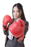 Business woman with boxing gloves Stock Photography