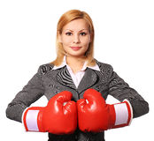 Business woman with boxing gloves isolated Royalty Free Stock Photo