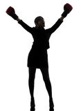 Business woman boxing gloves silhouette Stock Photography