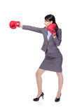 Business woman boxing and hitting Royalty Free Stock Images
