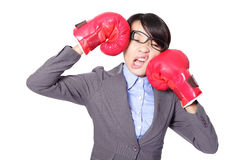 Business woman boxing and knock down. Funny businesswoman wearing boxing gloves and knock down itself, defeated loser woman - business concept - hopeless. Young royalty free stock photography