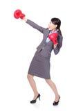 Business woman boxing, punching Stock Photo
