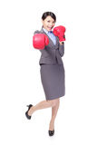 Business woman boxing, punching Stock Photo