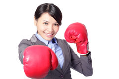 Business woman boxing punching towards Royalty Free Stock Photos