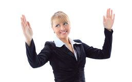 Business woman bragging about the size Royalty Free Stock Photography