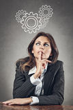 Business woman brain gearwheels Stock Photography