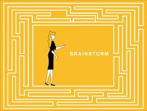 Female Brainstorm in puzzle path. Business woman Brainstorm in puzzle path to solve and get away from the problem vector illustration