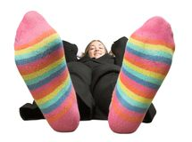 Business woman on a break - colourful socks Stock Photo