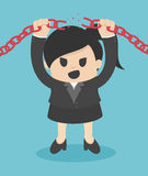 Business Woman breaking metal chain with hands. Eps.10 Stock Photo