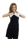 Business woman breaks the statement Royalty Free Stock Photo