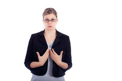 Business woman breathe out to calm down Royalty Free Stock Photos